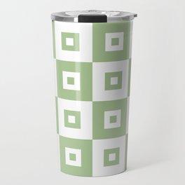 Retro Mid Century Modern Square Pattern Sage Green Travel Mug