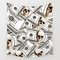 hiphop Wall Tapestries featuring Thousand dollars by Burcu Korkmazyurek