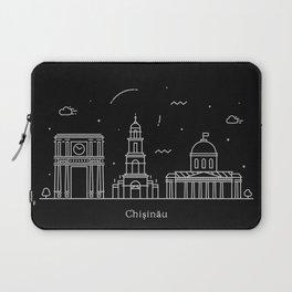 Chişinău Minimal Nightscape / Skyline Drawing Laptop Sleeve