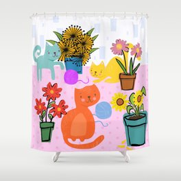 Three Curious Cats Shower Curtain