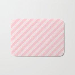 Light Millennial Pink Pastel Candy Cane Stripes Bath Mat