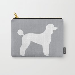 Poodle silhouette grey and white square minimal modern dog art pet portrait dog breeds Carry-All Pouch
