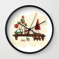 elf Wall Clocks featuring Elf by Erica_art
