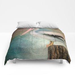 Perched Pelican Comforters