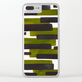 Olive Green Primitive Stripes Mid Century Modern Minimalist Watercolor Gouache Painting Colorful Str Clear iPhone Case
