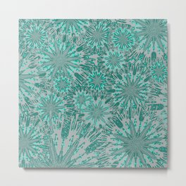 Teal & Aqua Floral Fireworks Abstract Metal Print