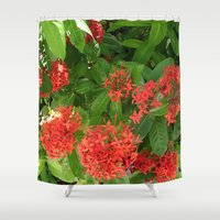 indonesia Shower Curtains featuring Flower (Bali, Indonesia) by Christian Haberäcker - acryl abstract