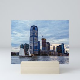 Cityscape of New Jersey from Hudson River at Sunset Mini Art Print