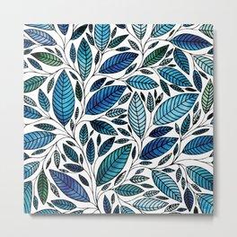 Blue Leaves / leaf Illustration (P07 063) Metal Print