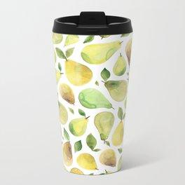 Watercolour Pears Metal Travel Mug