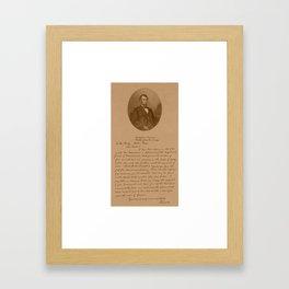 President Lincoln Letter To Mrs. Bixby  Framed Art Print