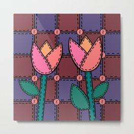 Retro Doodle Tulip Quilt - Burgundy Purple Pink Metal Print