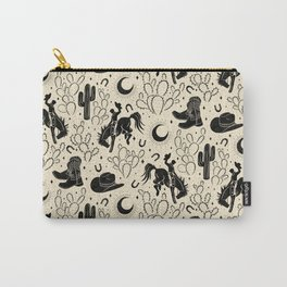 Cowboys and Cacti - cream and black Carry-All Pouch