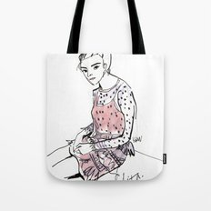 Lolita in a sheer pink polka dot dress  Tote Bag