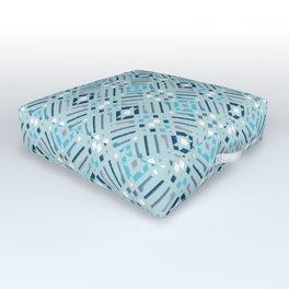 Modern abstract boho cool blue Outdoor Floor Cushion