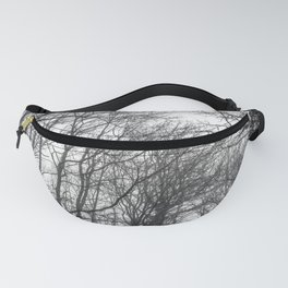 Black and white misty forest Fanny Pack