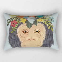 Baby Monkey, Nursery Animal, Safari Decor, Cute Baby Monkey Rectangular Pillow