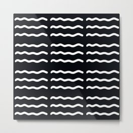 ABSTRACT WAVY LINES . BLACK + WHITE Metal Print