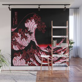 The Great Wave : Red & Black  Wall Mural
