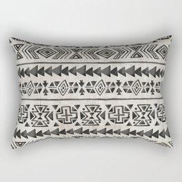 Boho Tribal Black & Cream, Geometric Print, Ink Tribal Decor Rectangular Pillow
