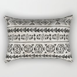 Boho Tribal Black & Cream, Geometric Print, Ink Tribal Decor Rectangular Pillow