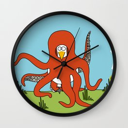 Eglantine la poule (the hen) dressed up as an octopus Wall Clock