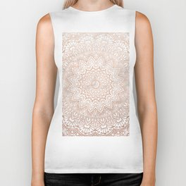 Mandala - rose gold and white marble 3 Biker Tank