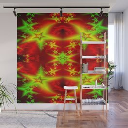 Burning red gold stars Wall Mural