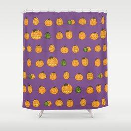 Pumpkin Pattern Purple Shower Curtain