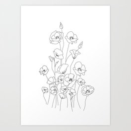 Poppy Flowers Line Art Art Print