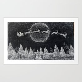 Santa flying over a winter wonderland of snow covered trees in his reindeer drawn sleigh by the light of a full moon Art Print