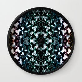 Crayon geometric and marble collage Wall Clock