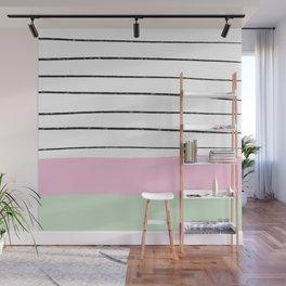 Modern geometric pastel pink green color block hand drawn stripes pattern Wall Mural