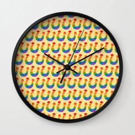 St. Patricks Day Lucky Rainbow Horseshoes Wall Clock