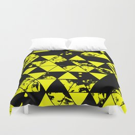 Splatter Triangles In Black And Yellow Duvet Cover