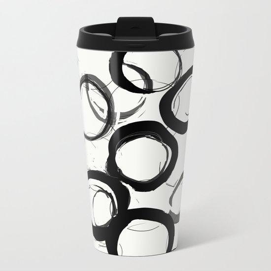 Abstract Line No. 22 Black and White Metal Travel Mug