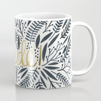 french Mugs featuring Pardon My French – Black & Gold by Cat Coquillette