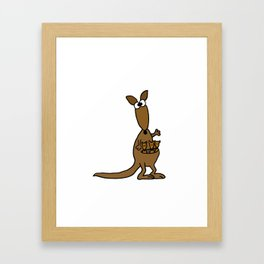 Funny Artistic Kangaroo Mother and Babies Framed Art Print