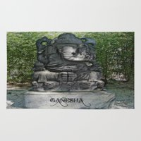 ganesha Area & Throw Rugs featuring Ganesha by Lucia