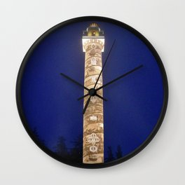 Astoria Column, blue hour fog Wall Clock