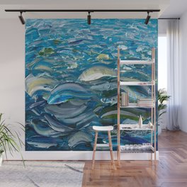 Original Oil Painting With Palette Knife On Canvas  Impressionist Roling Blue Sea Waves by OLena Art Wall Mural