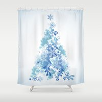 christmas tree Shower Curtains featuring Christmas Tree by MaNia Creations