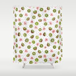 Kiwis with blush pink flowers and black dots watercolor Shower Curtain