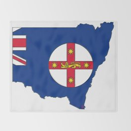 New South Wales Australia Map with NSW Flag Throw Blanket