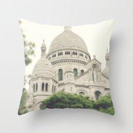 Paris - Montmartre - Sacre Coeur - white, cream, beige - Architecture - church Throw Pillow