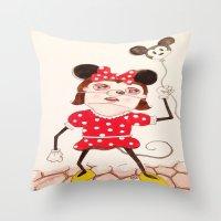 minnie Throw Pillows featuring Minnie  by ZarsStudio