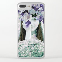 The girl with flowers Clear iPhone Case
