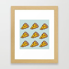 Pizza Pattern with Teal Background Framed Art Print