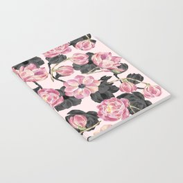 Girly Blush Pink and Black Watercolor Flowers Notebook