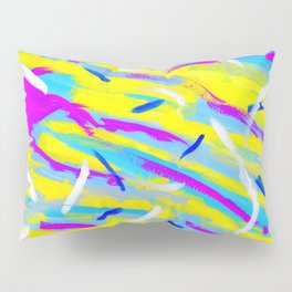Spice It Up - yellow pink blue abstract painting brushstrokes modern pattern Pillow Sham